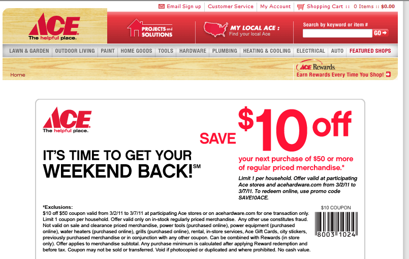 image relating to Ace Hardware Printable Coupons identify ACE Components $10.00 off Coupon Loved ones Reveals Exciting