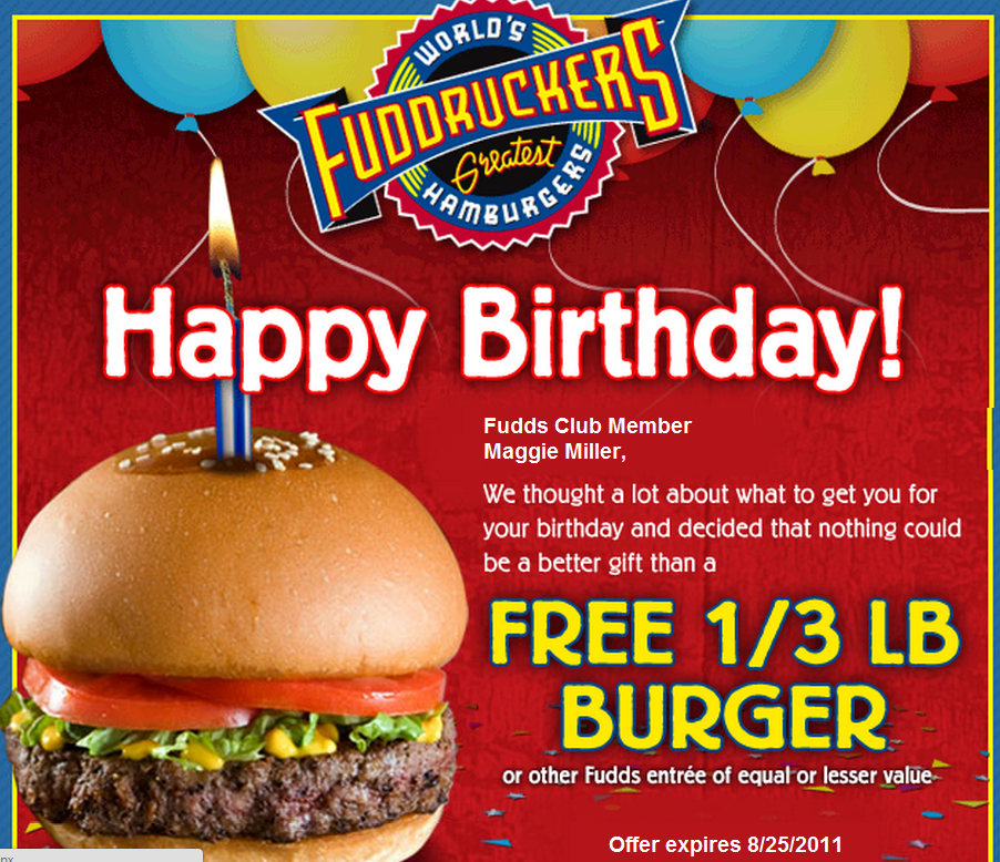photograph regarding Fuddruckers Coupons Printable titled Fuddruckers Free of charge Burger upon Your Birthday Relatives Unearths Exciting