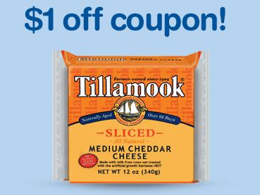 Just found a coupon for Tillamook Cheese. This coupon is for $1 off your purchase of this product. Grab some cheese and save today! Do not miss out on this great coupon deal from Tillamook. Printable Tillamook Cheese Coupon - Expires 12/4/ - Save when you purchase this cheese at a store near you. Go here to print.