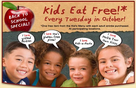 What can kids eat free at UNOs? Choose the make your own pizza, which my kids love or any other item on the kids' menu. Find out where Kids Eat FREE every night of the week in the metro Boston area.