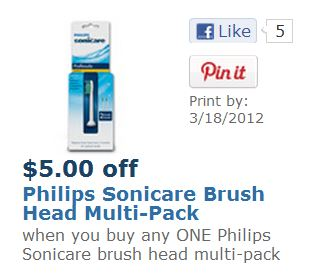 Philips Sonicare Replacement Brush Heads Printable Coupon
