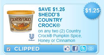 Highlights for Country Crock. We're always on the lookout for new and great coupons being released by Country Crock. Based on our recent data, it looks like the most popular coupon for Country Crock has been: $ off oz Country Crock side dish products ($/1) Our team of .