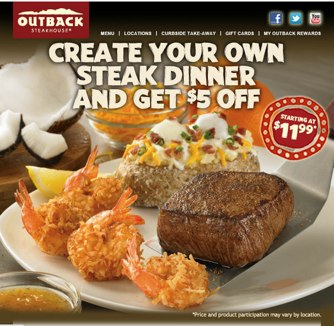 photograph about Outback Steakhouse Printable Menu known as Outback Steakhouse Printable Coupon $5 Family members Reveals Entertaining