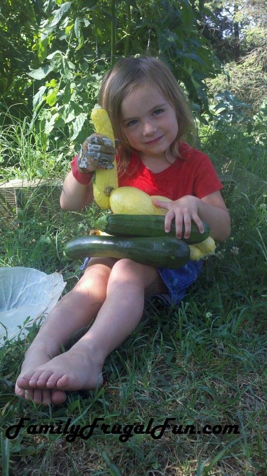 Samantha with garden vegetables1 Summer Squash Pie Recipe