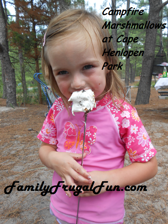 Samantha with s'mores marshmallows at Cape Henlopen State Park
