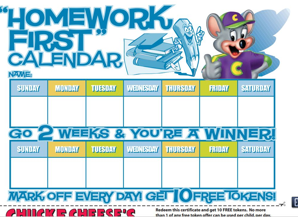 Chuck E Cheese Coupons: Free Tokens For Homework Reward Calendar