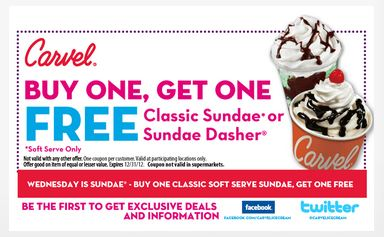picture about Ice Cream Coupons Printable identify Carvel printable coupon codes : Going for walks retail store discount codes