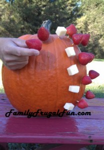 appetizer displayed on pumpkin for Halloween image'