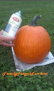 Pumpkin with can of Krylon chalkboard spray paint image