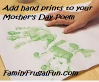 Hand print for short Mother's Day card and poem