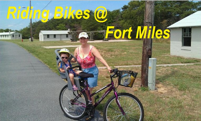 Riding bikes to Fort Miles when camping at Cape Henlopen State Park