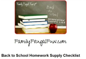 Back to school homework supply check list