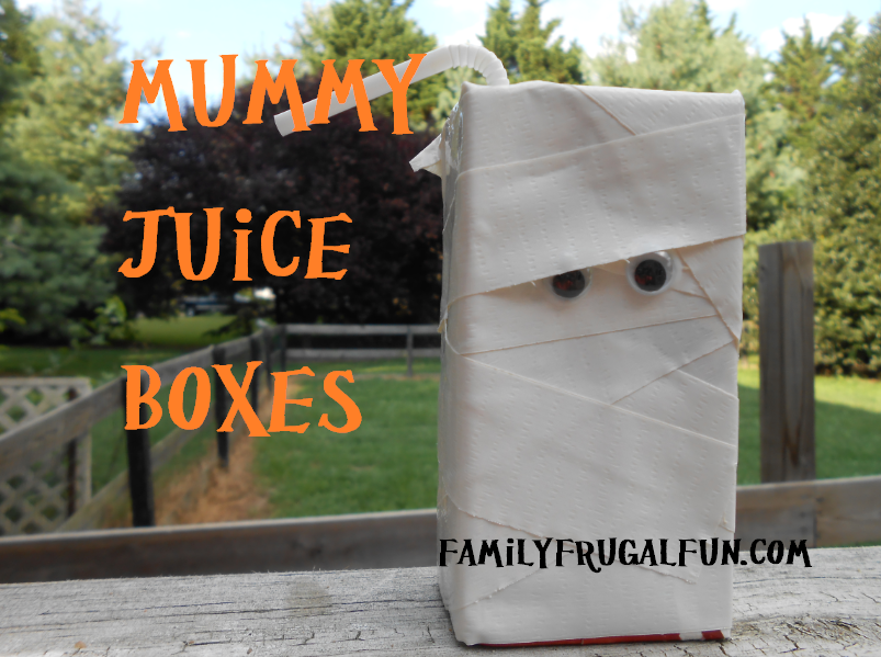 Kids Halloween Party ideas Mummy Juice Boxes