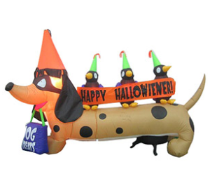 this is the most adorable halloween inflatable outdoor decoration i have seen yet the little wiener dog wishing everyone a happy hallowiener - Halloween Inflatable Yard Decorations