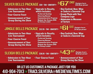 Medieval Times Discount Corporate packages Baltimore Castle