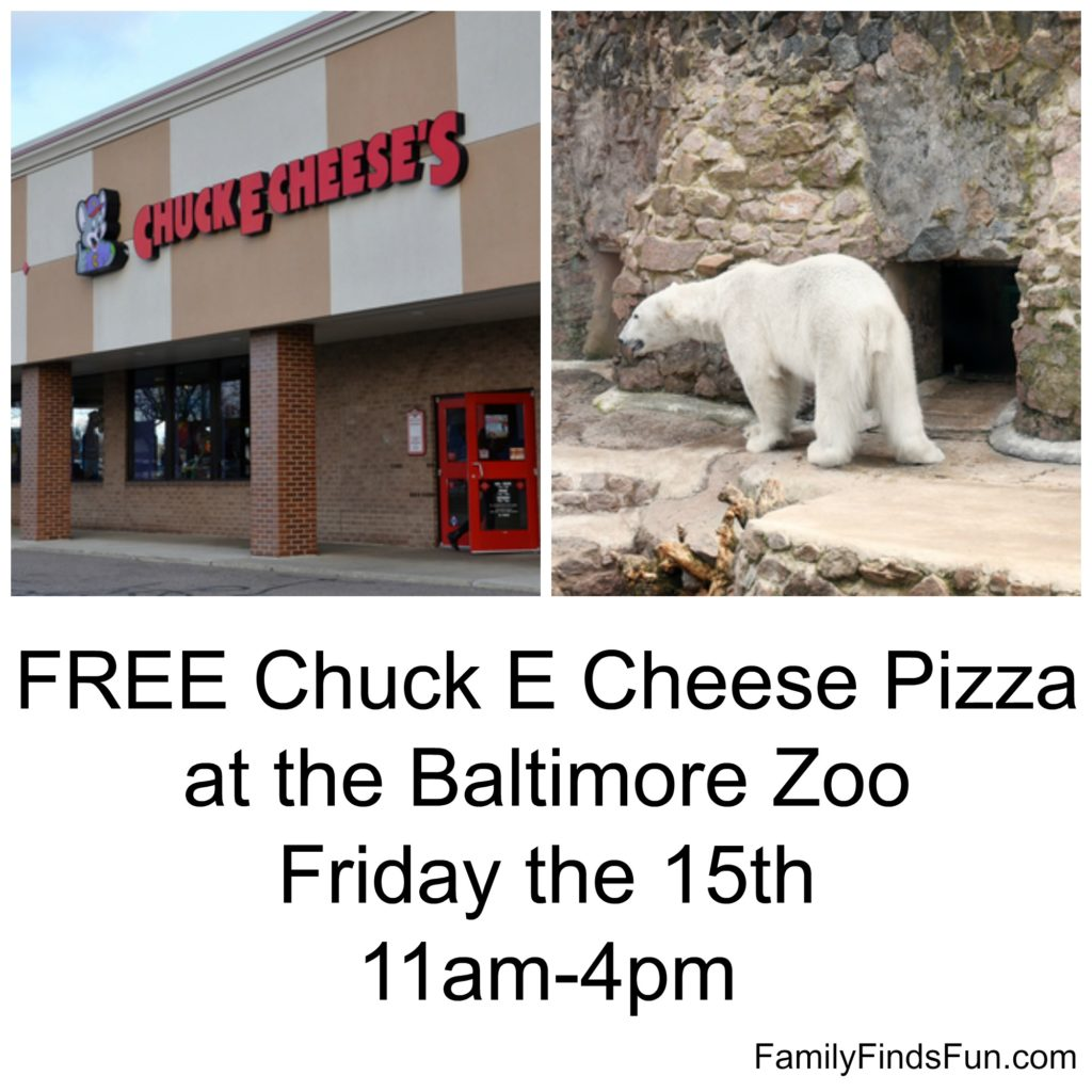 Baltimore Zoo FREE Pizza with Chuck E Cheese